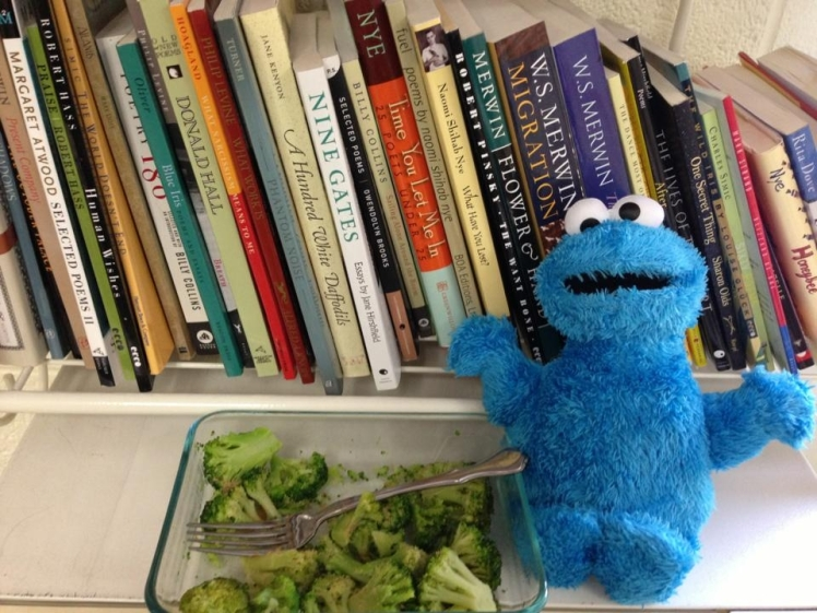 Freddie enjoying a snack of broccoli, lemon, and nutritional yeast during our prep period. Not only does he love healthy food but he's also fond of W.S. Merwin's poetry!