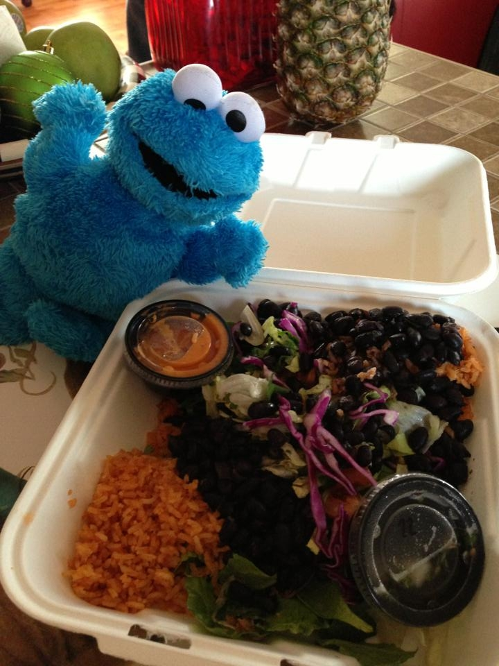 Freddie excited that Mike surprised us with a salad from our favorite area take-out restaurant, Border Grill. (Border Salad made plant-based by subbing black beans for meat)