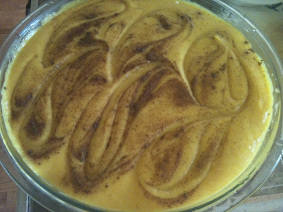 The final product with swirls of cinnamon and nutmeg