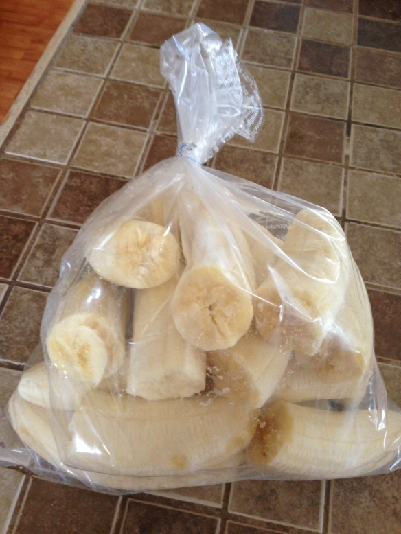 I bought these bananas last week and today they are ready to freeze for this week's smoothies. A daily green smoothie means never having to throw out bananas again!