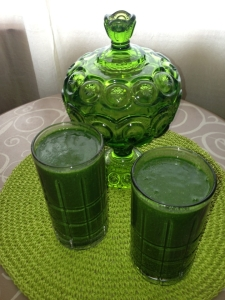 Green Smoothies (Baby kale, spirulina powder, mango, strawberries, chia seeds, and water) with a vintage covered glass dish that I bought at a thrift store for $3.