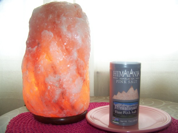 I use pink Himalayan salt.  We purchased this Himalayan salt lantern at the Rusted Buffalo in Asheville, North Carolina. It is said to have many air purification properties and I love the glow it imparts on the room.