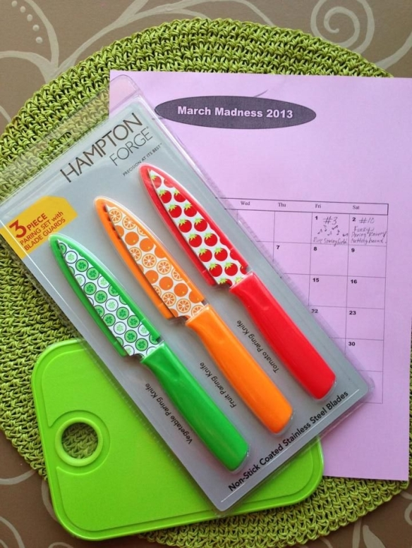 My March Madness Challenge #10: Fun & funky paring knives and an electric green cutting board. I can't wait to use them to cut up fruit and vegetables for snacks, salads, and smoothies!