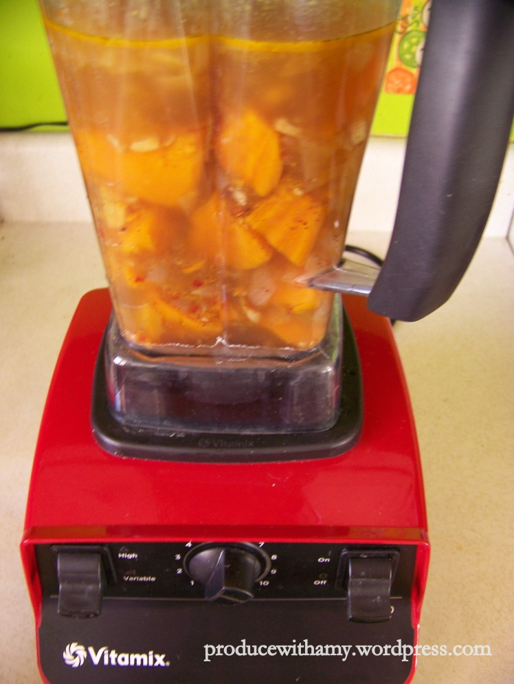 This literally took about 30 seconds to puree in my Vitamix.