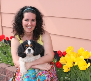 Our dog Phoebe and I enjoying sunshine and tulips on a gorgeous May afternoon.