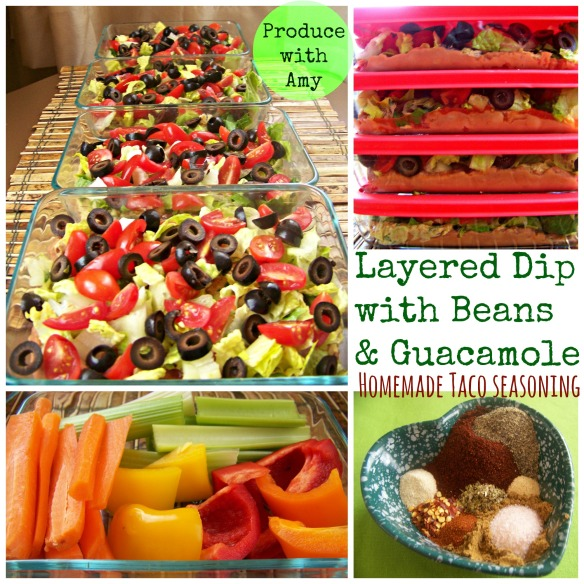 Layered Dip with Beans and Guacamole by Produce with Amy