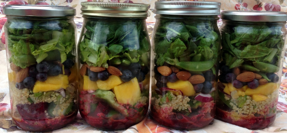Roasted Beet, Mango, and Blueberry Salad with Orange Dill Dressing ~ Plated or Layered in a Jar
