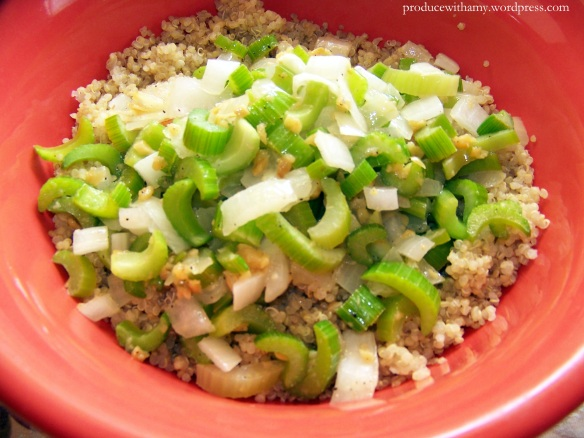 Add sauteed vegetables to the bowl of quinoa