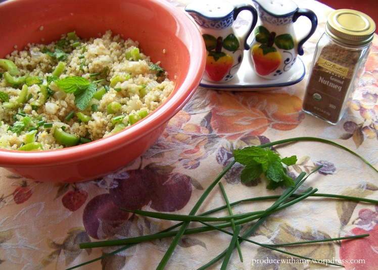 I love to add nutmeg to savory dishes because it really adds a depth of flavor. In the summer when I have an abundance of chives and mint in my garden I add them to nearly every dish I make.