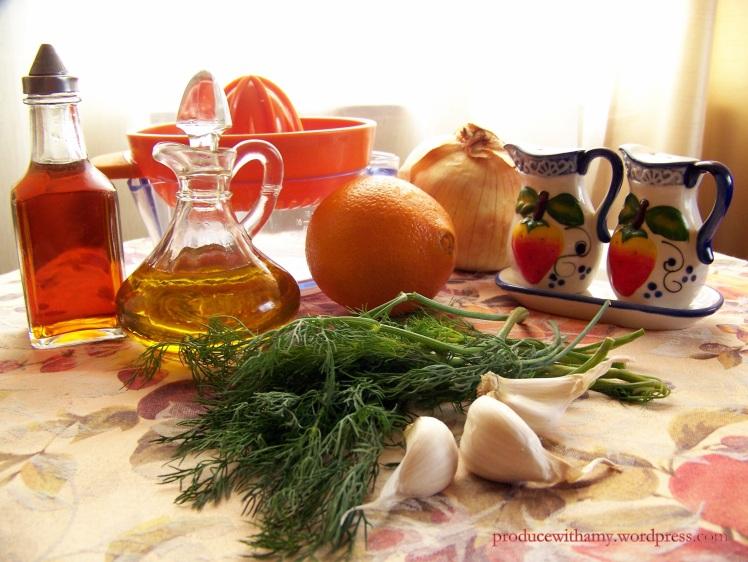 Ingredients Pictured: White Balsamic Vinegar, Extra Virgin Olive Oil, Onion, Fresh Dill, Garlic, Salt, and Pepper
