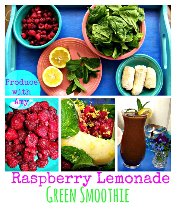 Raspberry Lemonade Green Smoothie by Produce with Amy