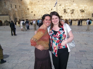 My best friend Heather Hollands and I at the Western wall in Israel.