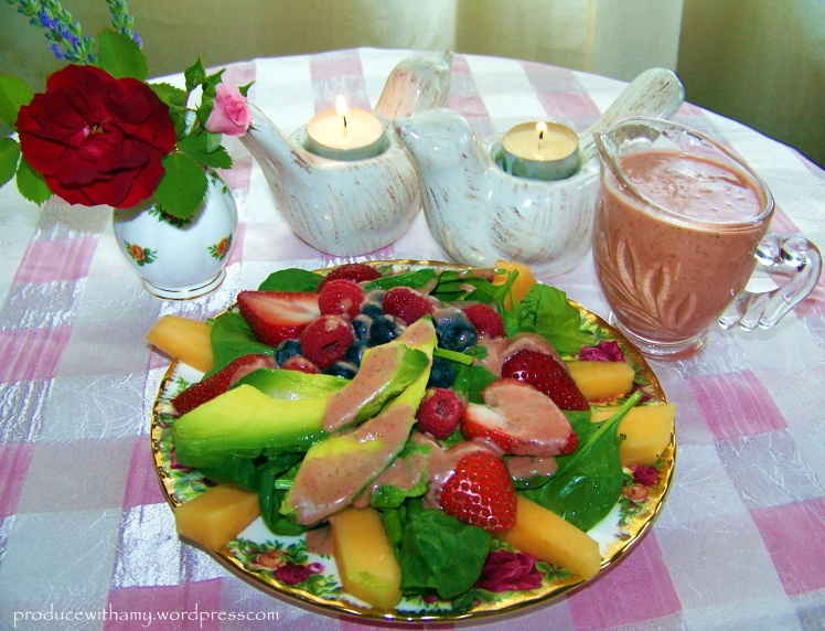 My salad: Spinach, Avocado, Cantaloupe, Strawberries, Blueberries, and Raspberries.