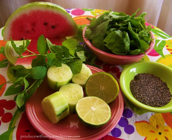 Watermelon, cucumber, spinach, fresh mint, lime, and chia seeds.
