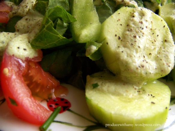 I love the cucumber dressing on top of sliced cucumbers. What a perfect summer salad.