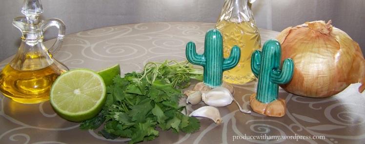 Olive oil, lime, cilantro, garlic, vinegar, salt, pepper, and onion.