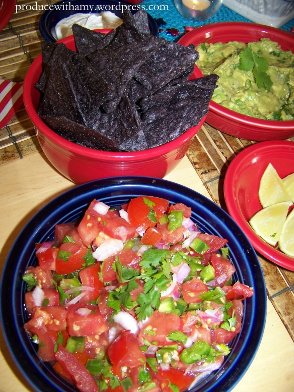 We enjoyed this salsa this past week with blue corn tortilla chips and homemade guacamole.
