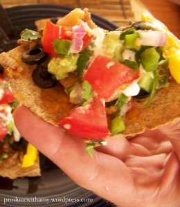 My husband Mike topped the mini-tortilla pizzas I made with fresh salsa.