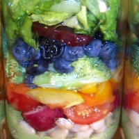 Harvest Rainbow Mason Jar Salad with Creamy Pesto Dressing