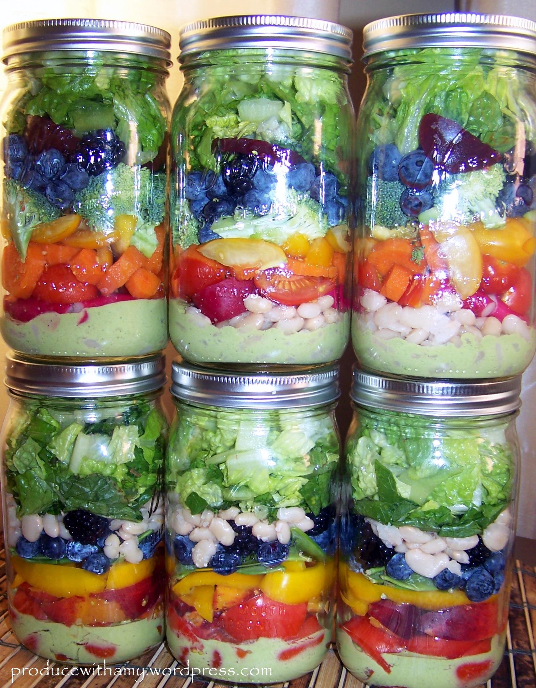 Harvest Rainbow Mason Jar Salads