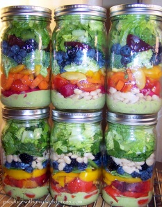 Harvest Rainbow Mason Jar Salads