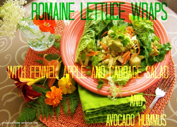 Romaine Lettuce Wraps with Fennel, Apple, and Cabbage Salad and Avocado Hummus