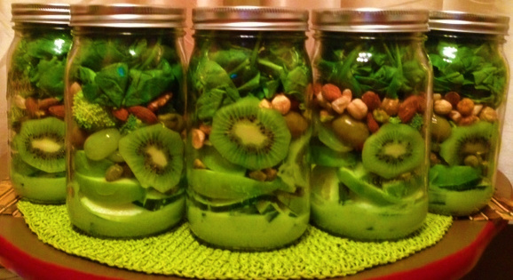 Glowing Green Mason Jar Salad with Creamy Avocado Vinaigrette