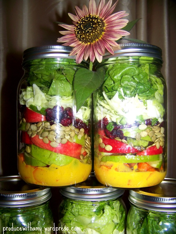 Apple-a-Day Mason Jar Salads with Pumpkin Vinaigrette Dressing