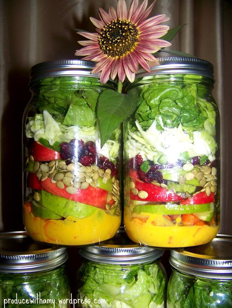 Apple-a-Day Mason Jar Salads with Pumpkin Vinaigrette Dressing