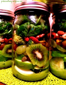 Glowing Green Mason Jar Salad with Avocado Vinaigrette