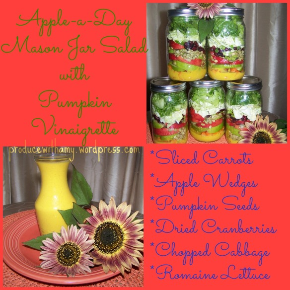 Apple-a-Day Mason Jar Salad with Pumpkin Vinaigrette Dressing.