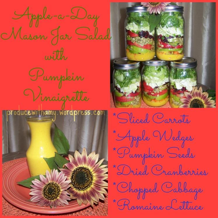 Apple-a-Day Mason Jar Salad with Pumpkin Vinaigrette Dressing.