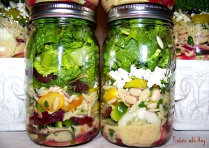 Mediterranean Mason Jar Salads with Greek Vinaigrette