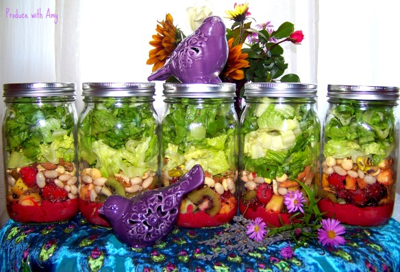 Fruited Chia Mason Jar Salads with Blackberry &  Lavender Vinaigrette