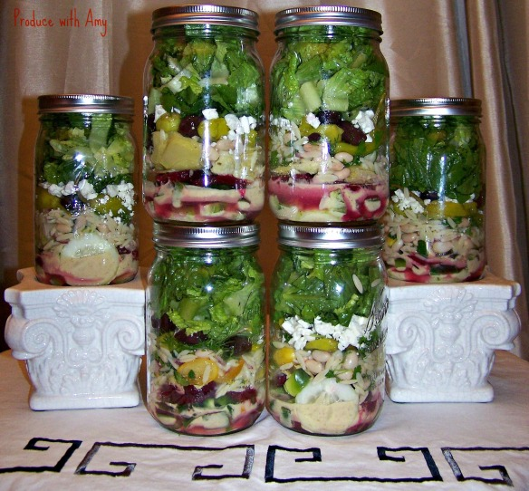 A classic Greek salad gets a modern makeover when layered in a jar.