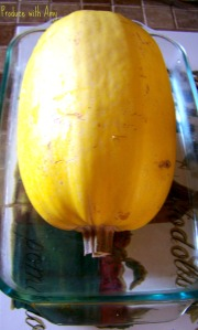 Pierce the squash with a knife or fork and add about an inch of water to a baking dish.
