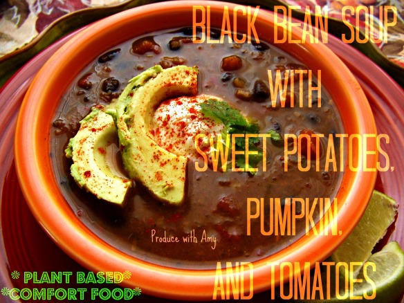 Black Bean Soup with Sweet Potatoes, Pumpkin, and Tomatoes