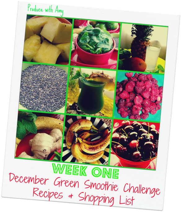 Week #1 December Green Smoothie Challenge Recipes & Shopping List