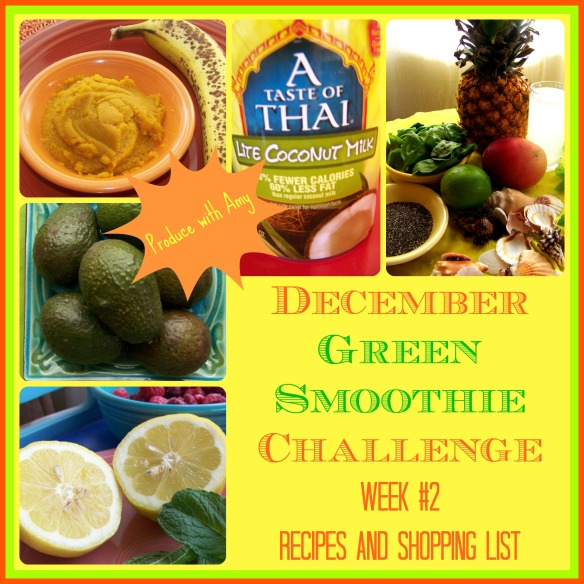 December Green Smoothie Challenge Week #2 Recipes and Shopping List