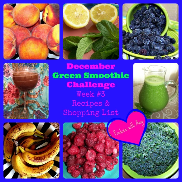 December Green Smoothie Challenge Week #3 Recipes and Shopping List