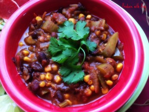 Three Bean Vegetarian Chili ~ Healthy & Hearty Comfort Food