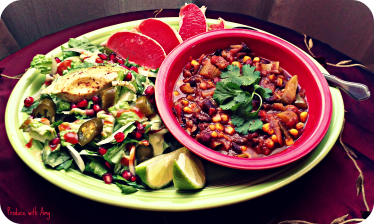 Three Bean Vegetarian Chili with Side Salad