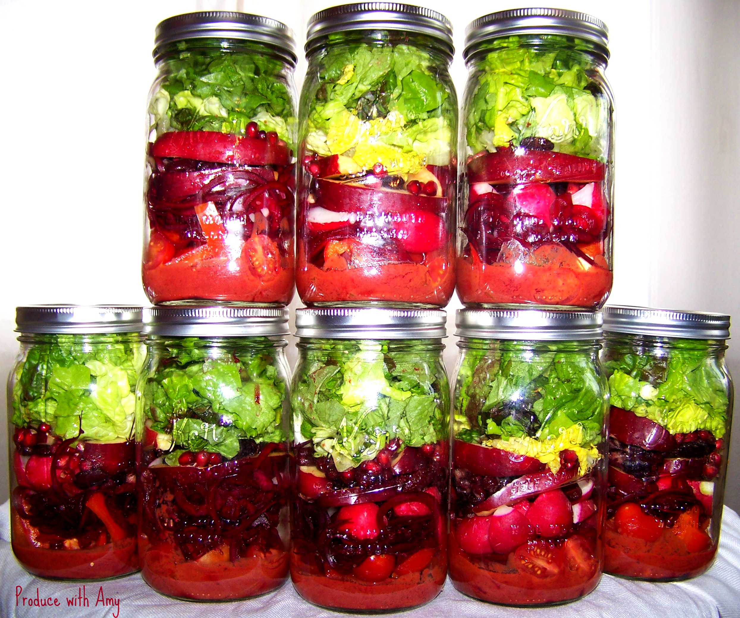 Scarlet Jarred Salads with Cherry Chipotle Vinaigrette