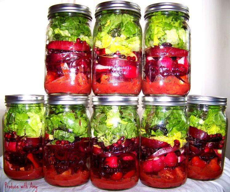 Scarlet Jarred Salads with Cherry Chipotle Vinaigrette
