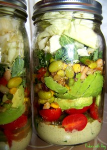 Confetti Salad in a Jar with Creamy Chipotle Dressing