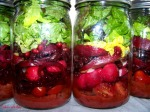 Scarlet Salads in a Jar with Cherry Chipotle Vinaigrette