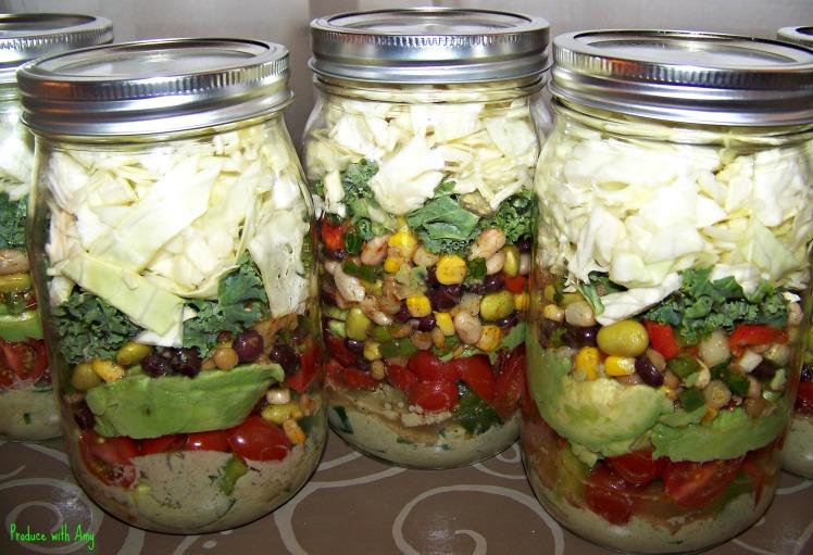 Confetti Mason Jar Salad in a Jar with Creamy Chipotle Dressing
