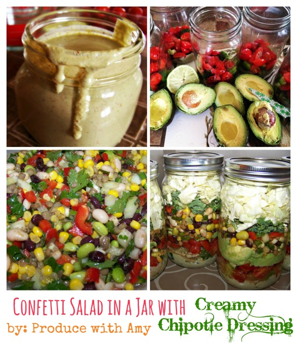 Confetti Salad in a Jar with Creamy Chipotle Dressing by Produce with Amy