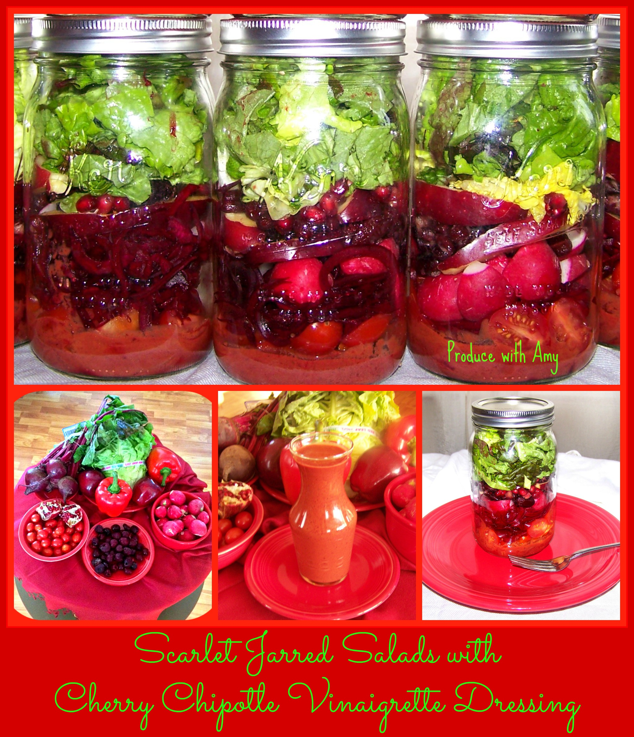 Scarlet Jarred Salads with Cherry Chipotle Vinaigrette Dressing