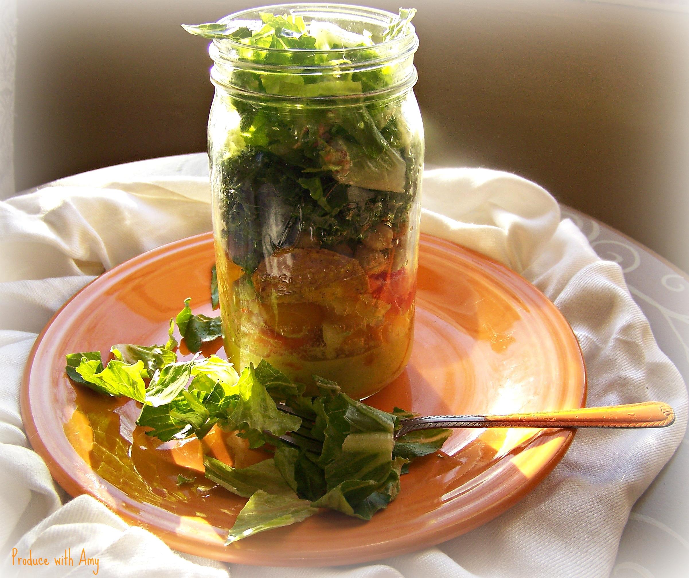 Sunshine Mason Jar Salad  with Mango Dressing